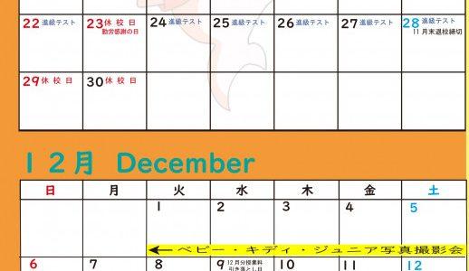 11月度のカレンダー